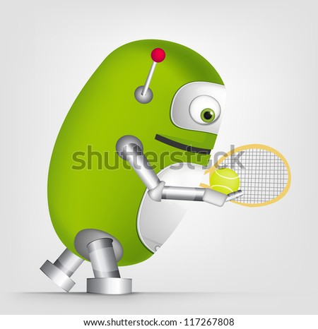 Cartoon Character Cute Robot Isolated on Grey Gradient Background. Tennis. Vector EPS 10. - stock vector