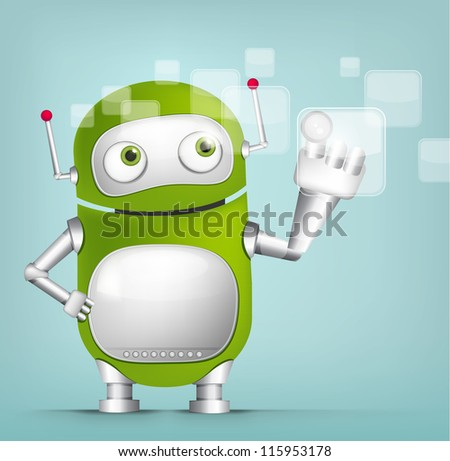 Cartoon Character Cute Robot Isolated on Grey Gradient Background. Touch Screen. Vector EPS 10. - stock vector