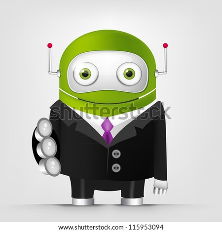 Cartoon Character Cute Robot Isolated on Grey Gradient Background. Trust. Vector EPS 10. - stock vector
