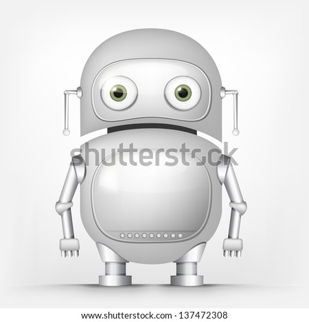 Cartoon Character Cute Robot Isolated on Grey Gradient Background. Vector EPS 10. - stock vector