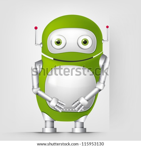 Cartoon Character Cute Robot Isolated on Grey Gradient Background. Wall. Vector EPS 10. - stock vector