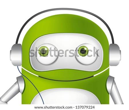Cartoon Character Cute Robot. Listening to Music Avatar. Vector EPS 10. - stock vector