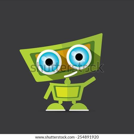 Cartoon Character Cute Robot on black - stock vector