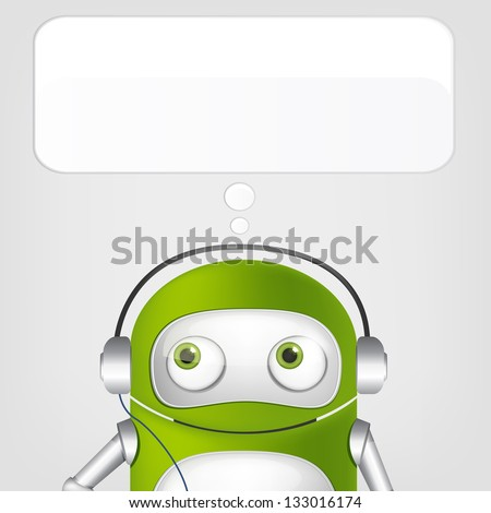 Cartoon Character Cute Robot on Grey Gradient Background. Listening to Music. Vector EPS 10. - stock vector