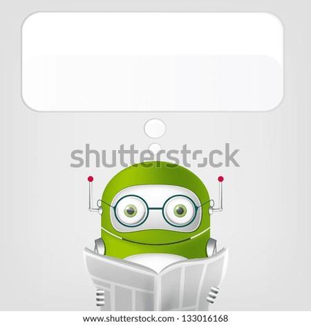 Cartoon Character Cute Robot on Grey Gradient Background. News. Vector EPS 10. - stock vector