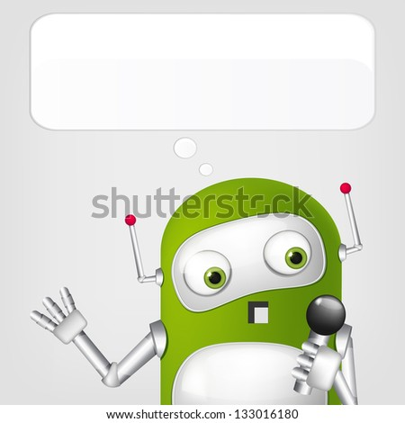 Cartoon Character Cute Robot on Grey Gradient Background. Singing. Vector EPS 10.
