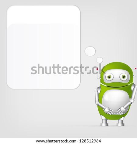 Cartoon Character Cute Robot on Grey Gradient Background. Wall. Vector EPS 10. - stock vector