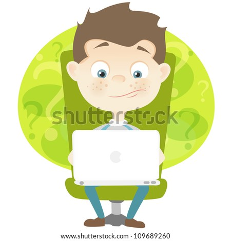 Cartoon Character Cute Teenager Isolated on White Background. Coder. Vector EPS 10. - stock vector