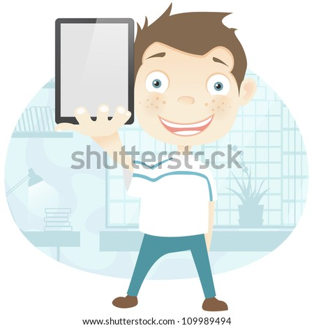 Cartoon Character Cute Teenager Isolated on White Background. Empty hand. Vector EPS 10. - stock vector