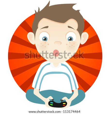 Cartoon Character Cute Teenager Isolated on White Background. Gamer. Vector EPS 10. - stock vector
