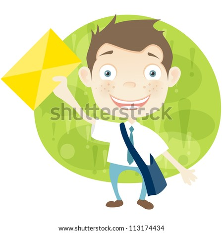 Cartoon Character Cute Teenager Isolated on White Background. Postman. Vector EPS 10. - stock vector