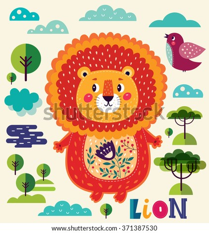 Cartoon character fun lion. Series Alphabet for children. Letter L. Vector illustration. Baby card with lion boy - stock vector