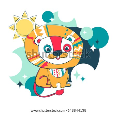 Cartoon character fun lion. Series animals for t-shirt. Vector illustration.