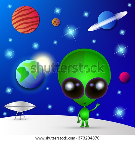 Cartoon character funny Alien in space.Watch out. - stock vector