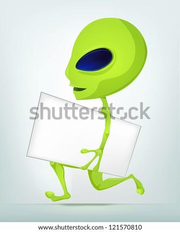 Cartoon Character Funny Alien Isolated on Grey Gradient Background. Postman. Vector EPS 10. - stock vector