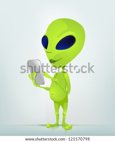 Cartoon Character Funny Alien Isolated on Grey Gradient Background. Tablet User. Vector EPS 10. - stock vector