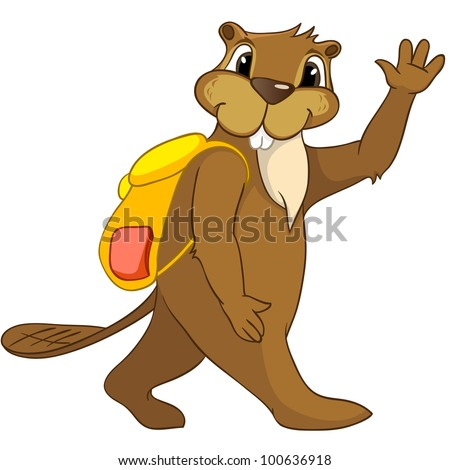 Cartoon Character Funny Beaver Isolated on White Background. Vector. - stock vector