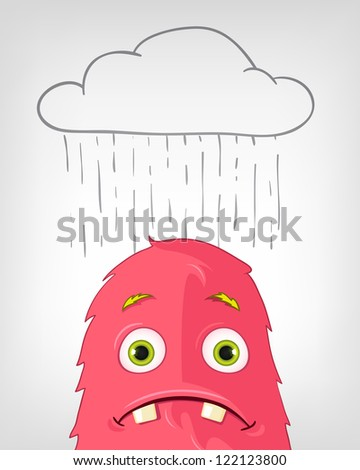 Cartoon Character Funny Monster Isolated on Grey Gradient Background. Engry. Vector EPS 10.