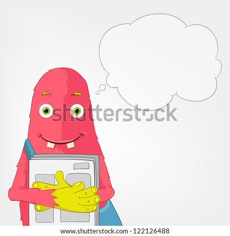 Cartoon Character Funny Monster Isolated on Grey Gradient Background. Postman. Vector EPS 10. - stock vector