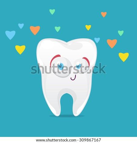 cartoon character funny tooth on blue background