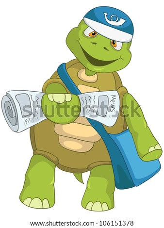 Cartoon Character Funny Turtle Isolated on White Background. Postman. Vector EPS 10. - stock vector