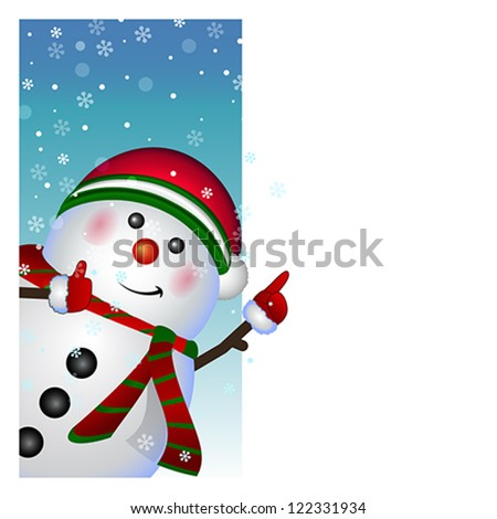 Cartoon character happy snowman with blank banner, Christmas and New Year greeting card, winter background, vector