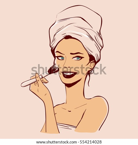 Illustration Woman Using Curling Iron Style Stock Vector ...