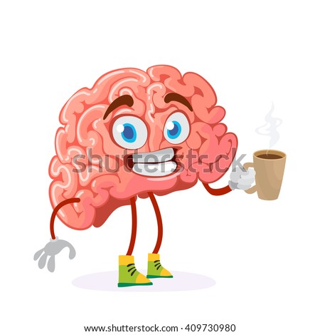 cartoon character mascot of the brain holds a mug of hot drink coffee or tea - stock vector