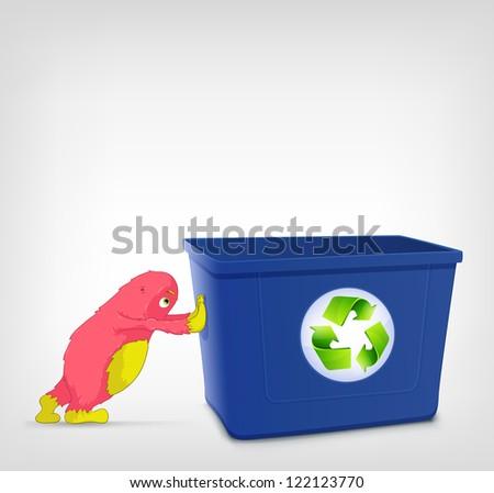 Cartoon Character Monster Oushing Recycle Bin. Vector EPS 10. - stock vector