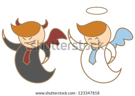 cartoon character of angel and devil - stock vector