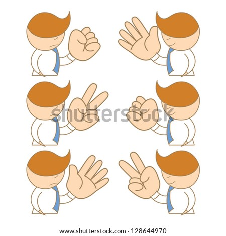 cartoon character of business man rock paper scissors - stock vector