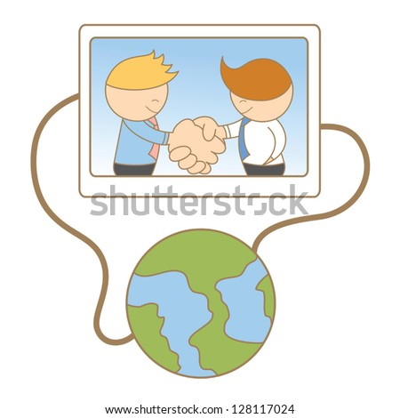 cartoon character of business men shaking hand on line - stock vector