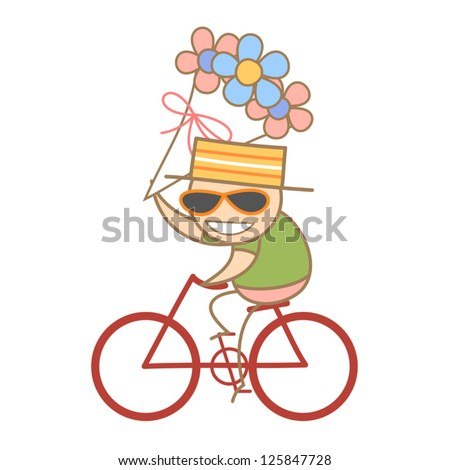cartoon character of man holding a bunch of flower while riding bike - stock vector