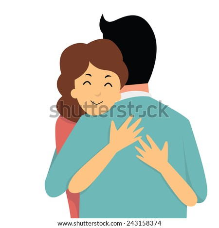 Cartoon character of woman embracing her lover in arms, Valentine's day concept.  - stock vector