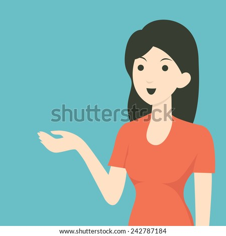 Cartoon character of woman showing and presenting something in blank space. Flat design.  - stock vector