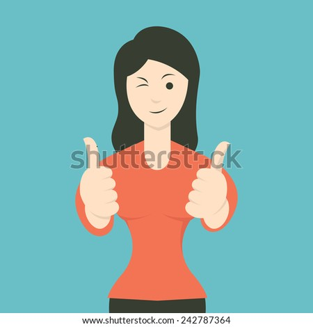 Cartoon character of woman smiling and showing thumb up gesture. Flat design. - stock vector