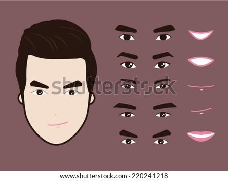 cartoon character pack facial emotions design elements isolated vector ...