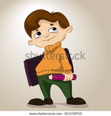 Cartoon character. Pensive student the artist with book and pencil. Illustration, vector - stock vector