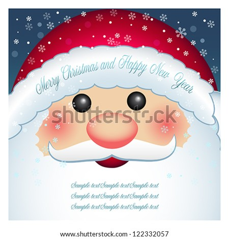 Cartoon character Santa Claus with blank banner, Christmas and New Year greeting card. Winter holiday backgrounds. Vector