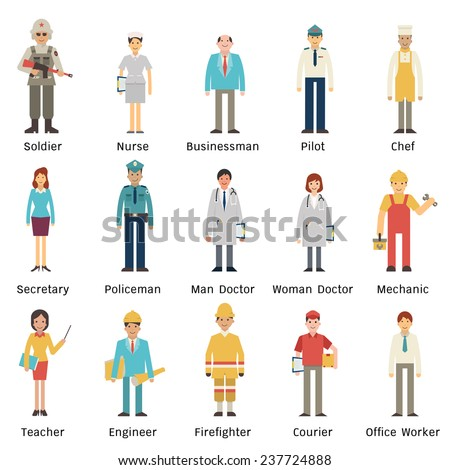 Cartoon character set of people in various occupations. Full length, isolated on white with flat design.  - stock vector
