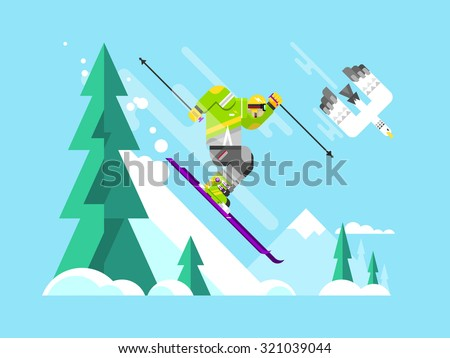 Cartoon character skier. Sport winter, snow and speed extreme, flat vector illustration - stock vector