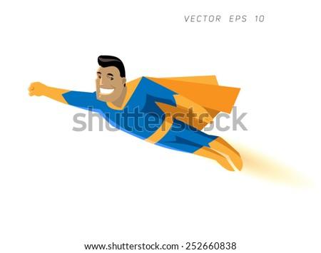 cartoon character strong hero in a suit flies - stock vector
