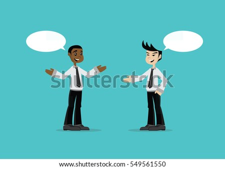 Cartoon character, Two businessmen talking., vector eps10