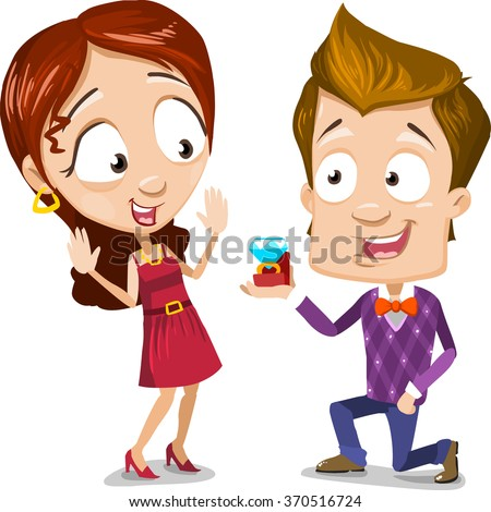 Cartoon character vector set of young couple. Boy making proposal to girl. Give her a diamond ring. - stock vector