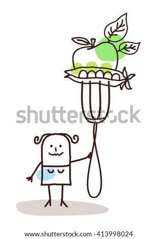 cartoon character with fork - vegetables - stock vector