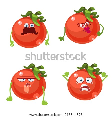 Cartoon character with many expressions of tomato