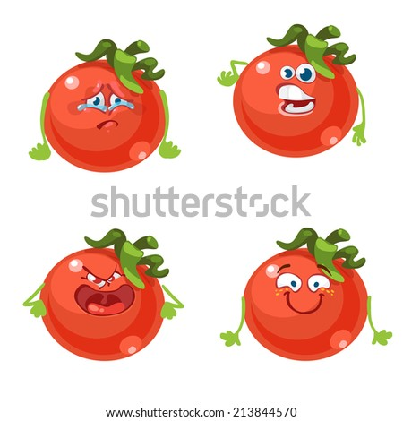 Cartoon character with many expressions tomato