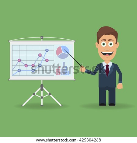 Cartoon character with pointer near presentation stand with charts and diagrams. Business lecture, seminar, report, coaching, meeting.