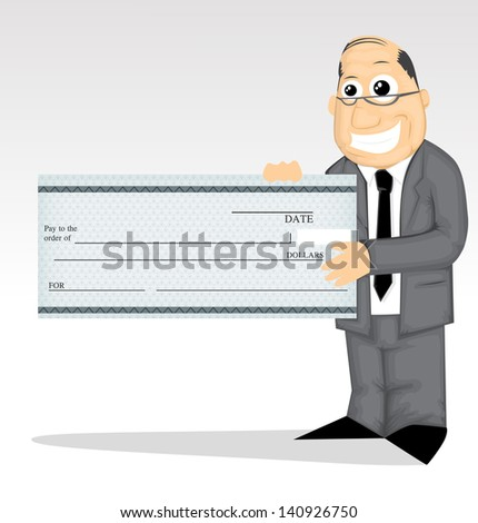 Cartoon character with prize check - stock vector