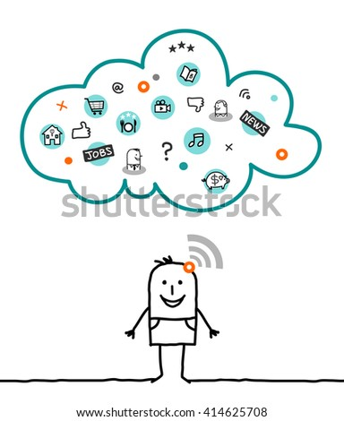 cartoon characters and cloud - informations - stock vector